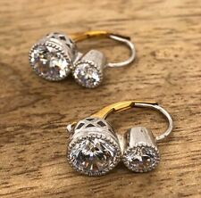 1.50 Carat Round Cut White Diamond 2 Stone Vintage Bezel Earring 14k Yellow Fn