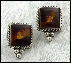VINTAGE .925 Sterling Silver & Amber, Rope & Bead Trim Earrings, Posts - Mexico