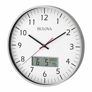 Bulova Clocks C4810 Manager Digital Decorative Glass Hanging Wall Clock, Silver