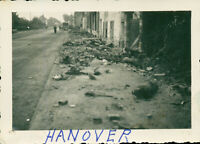WWII 1945 GI's Germany Photo destroyed Hanover  Germany street scene