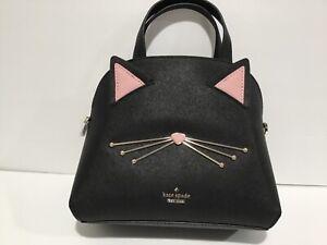 Kate Spade Cat's Meow SMALL Lottie Crossbody/Satchel Purse PXRU9448 Black NWT