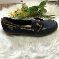 Sperry Top-Sider Classic Womens Size 10M Boat Shoes Navy Blue Brown Leather
