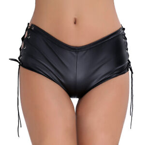 M Women Patent Leather Lace up Micro Booty Shorts Pants Dancing Rave Clubwear