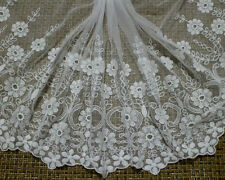 "17""*1 Yard Off White Cotton Embroidered Tulle Lace Trim~Bridal Wedding"