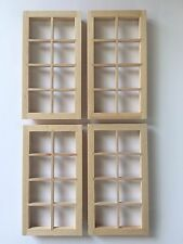 4 x 12th Scale Unpainted Dolls House Windows 127 x 64mm with Glazing & Surrounds