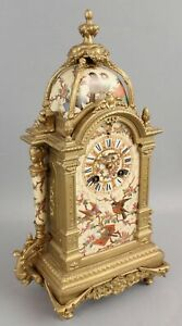 19thC Antique French Hand Painted Birds Porcelain Bronze Aesthetic Mantle Clock