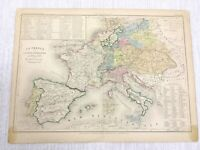 1877 Antique Map of France in 1789 and Europe Political Hand Coloured French