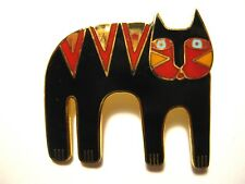 Vintage LAUREL BURCH *Magicat* Multicolored Enamel Cat Brooch/Pin Black