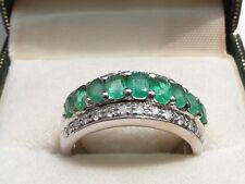 Q103 Ladies 18ct White gold Emerald and Diamond ring size N
