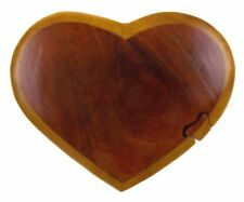 Handmade Carved Heart Intarsia Wood Puzzle Box Handcrafted Secret Storage