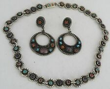 earrings, necklace set Mexico, Taxco Early rustic sterling, Turquoise, Coral,