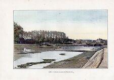 TIRAGE  COULEUR 1903  DAX ADOUR EN AMONT DU PONT DE VILLE