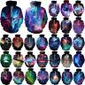 Unisex Mens Galaxy 3D Graphic Print Hoodies Sweatshirt Jacket Coat Tops Outwear