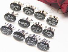 Wedding Cufflinks Groom BLACK OVAL mens cuff link best man usher page gift dad