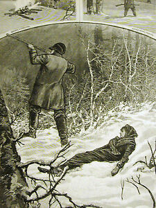 Minnesota LOST in WINTER SNOW STORM Hunters 1883 Antique Engraving Art Matted