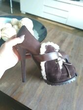 Brown New High Heel Leather With Sheep Fur Ankle Boots Uk 3