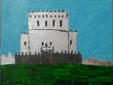 Simo Outsider Art. Medieval Castle 8 x 10 painting on canvas panel