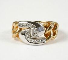 """Extravaganter Ring """"Kettenmuster"""" mit Brillant 0,18 Carat, 585 Gelb- Weissgold"""