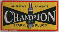 Champion Woven Patch, Spark Plugs, Scooters, Motorcycles, Iron on