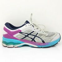 Asics Womens Gel Kayano 26 1012A457 White Running Shoes Lace Up Low Top Size 11