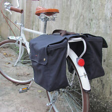 Tourbon Bike Double Panniers Bicycle Bag Rolled-Up Rear Seat Canvas Navy Blue