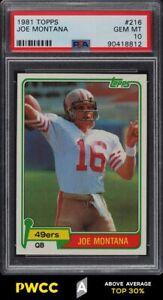 1981 Topps Football Joe Montana ROOKIE RC #216 PSA 10 GEM MINT (PWCC-A)
