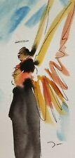 JOSE TRUJILLO ORIGINAL Watercolor Painting Study SIGNED Small 3x6 MINIMALIST ART