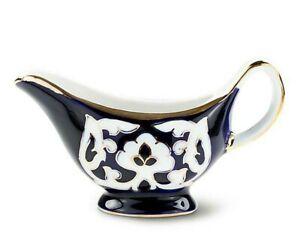 Turan Porcelain PAKHTA Gilded GRAVY BOAT, Handmade in Uzbekistan, 100 ml