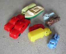Lot of 9 Vintage 1950s Small Plastic Cars Trucks and a Boat LOOK
