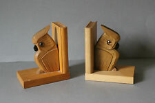 Paar alte figürliche Buchstützen Holz Eulen