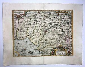 SPAIN ANDALUSIA 1579 ABRAHAM ORTELIUS UNUSUAL LARGE ANTIQUE MAP 16TH CENTURY