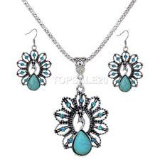 Turquoise Crystal Peacock Tibet Dangle Pierced Earrings & Necklace Set