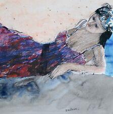Guy Bardone - Peinture originale - Aquarelle - Jeune fille à la nuisette