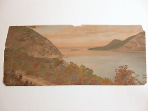 Vtg Hand Painted Tinted Picture Photograph CHARLES HENRY SAWYER Lake George