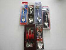 Lot of 6 Collectible Silver Plate Souvenir Spoons & 1 Fork Tongs