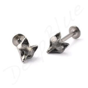 TITANIUM LABRET Internal Thread  STEEL FOX  Ear Bar Tragus Helix  Stud