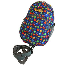 Emmzoe Little Walker Toddler Backpack w/ Detachable Leash - Blue Monsters