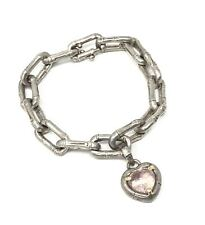 John Hardy 925 Sterling Silver 18K Gold Pink Heart Bracelet