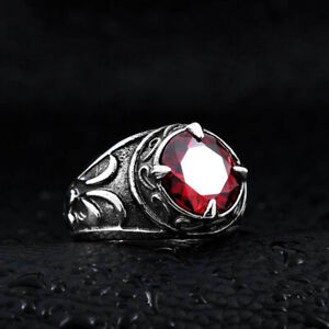 Never Fade Vintage Silver 316L Stainless Steel Ruby Finger Rings SIZE 12