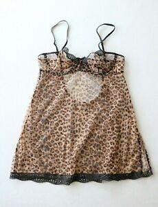 Vintage Victoria Secret Babydoll Slip Nightie Dress Leopard Fishnet Size M