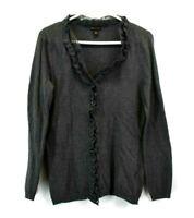 Dana Buchman Women's Medium Long Sleeve Button Up Ruffled Cardigan Gray