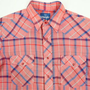 Vintage Paper Thin Wranger Pearl Snap Shirt Mens MEDIUM Western Faded Pink Rodeo