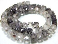 AAA-Qualität Schwarze Rutil Edelstein 8-9 mm große quadratische lose Perlen