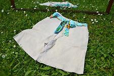 PIONIER Vintage 80 S taille haute à rayures beige short pants Free Soie Ceinture Q27