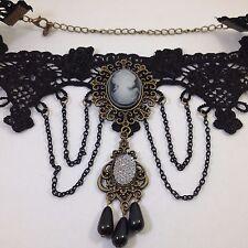 Gothic Black Lace CAMEO CHOKER COLLAR NECKLACE Victorian Lolita Vampire Jewelry
