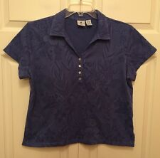 Caribbean Joe Women's Petites Collar Shirt, Size X-Large, Purple Floral