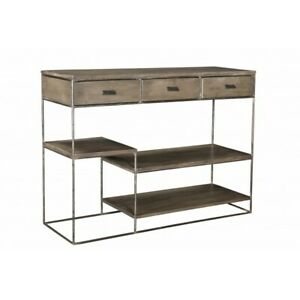 """51"""" L Console Table Hand Crafted Solid Mango Wood Drawers & Shelves Iron Frame"""