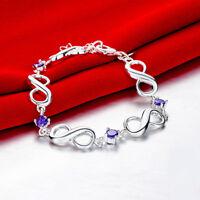 925 Sterling Silver Purple Amethyst Bracelet 7 Inch Infinity Gemstone Fine