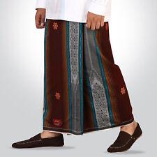Men's Sarong Jacquard Brown Striped Indonesian Islamic Premium Sarung Tenun