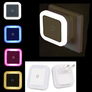 Automatic LED Plug in Night Light Energy Saving Sensor Multicolour Kid Safety EU